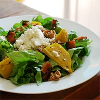 Beet, Goat Cheese, and Bacon Salad with Honey-Lime Dressing by Poor Girl Gourmet