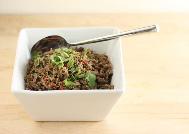 Kachin Pounded Beef with Herbs, a dish from Burma: Rivers of Flavor by Naomi Duguid // FoodNouveau.com