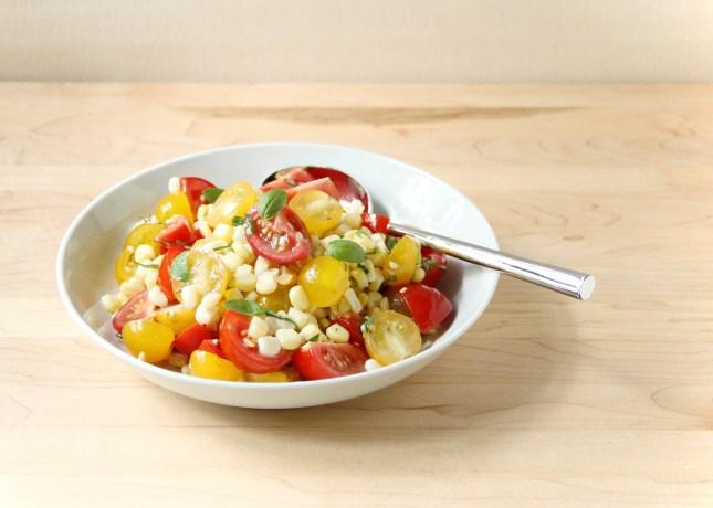 Tomato and Fresh Corn Salad with Shallot Vinaigrette // FoodNouveau.com