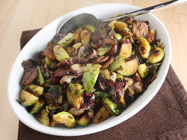 Brussels Sprouts, Radicchio and Chorizo Sautéed Salad