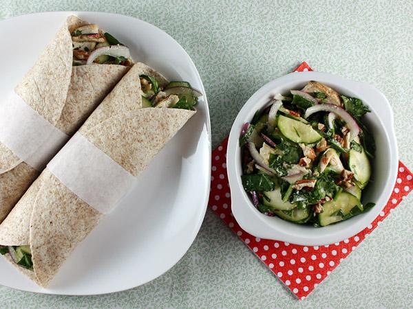 Zucchini, Chicken & Pecan Salad Wraps