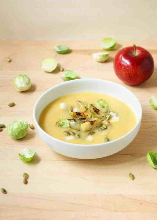 Recipe: Creamy Miso Squash Soup with Seared Brussels Sprouts and Apple (Dairy-Free, Vegan) // FoodNouveau.com