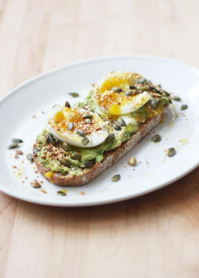 Avocado, Soft-Boiled Egg, Pumpkin Seed Tartine // FoodNouveau.com