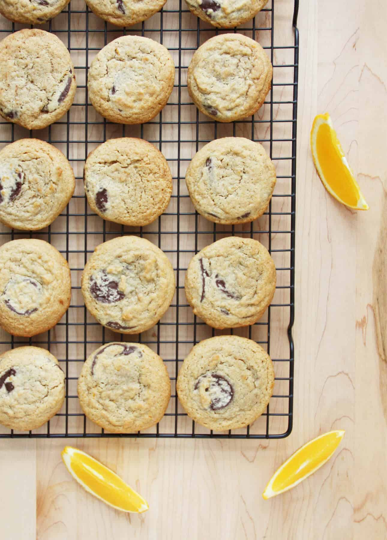 Whole Wheat Chocolate Chunk and Clementine Zest Cookies (with dairy-free option)