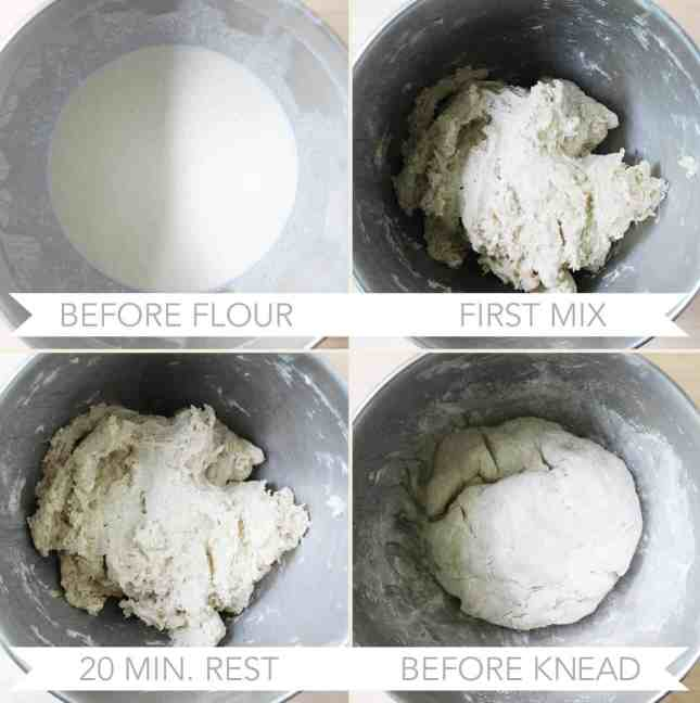 Mixing dough to make whole wheat English muffins from scratch // FoodNouveau.com