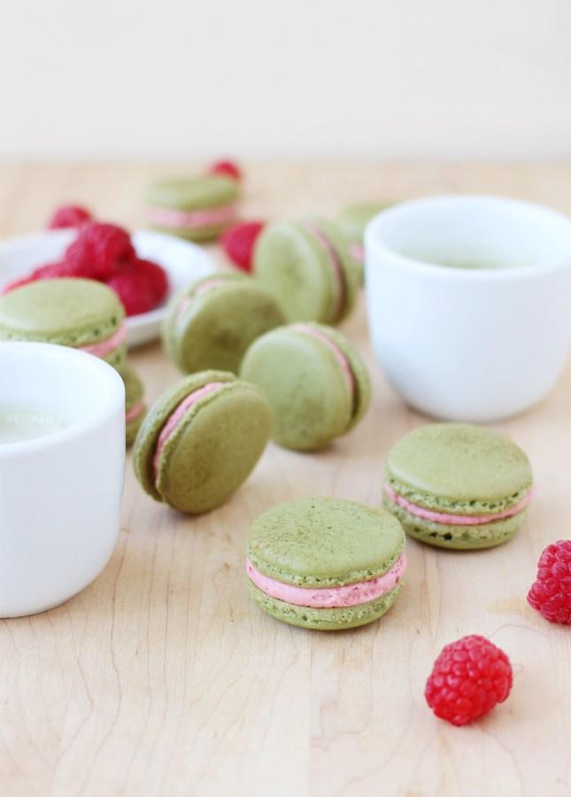 Fresh Raspberry and Matcha Macarons // FoodNouveau.com