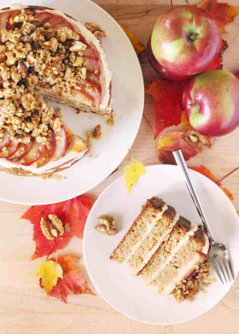Layered Apple Cake with Caramelized Apple Buttercream and Maple Walnut Crumble