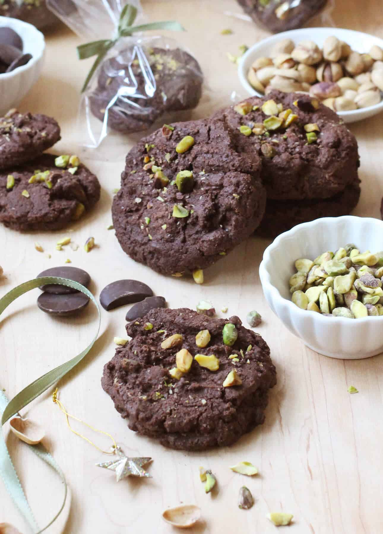 Triple Chocolate Pistachio Cookies