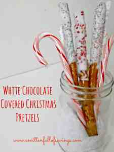 White Chocolate Covered Pretzels add an extra Christmas touch for the holidays!