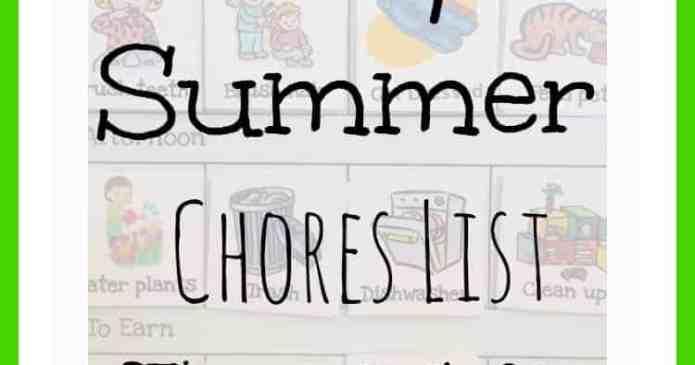 Easy Summer Chores List For Kids