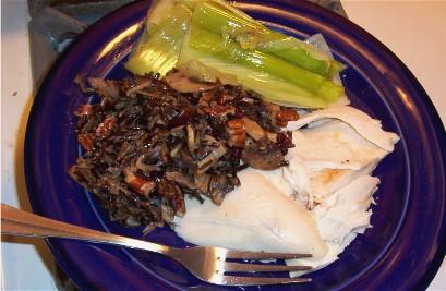 roast chicken, wild rice pilaf and braised leeks