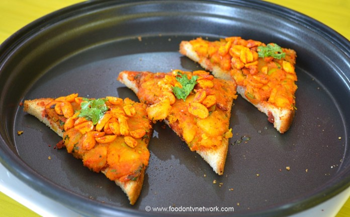 Gujarati Fast Food Masala Toast Cooked in Oven.