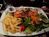 seafood open-faced sandwich from Les 3 Brasseurs