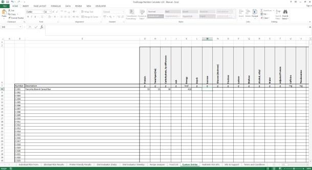 Foodosage Nutrition Calculator - Custom Entries, Filling In