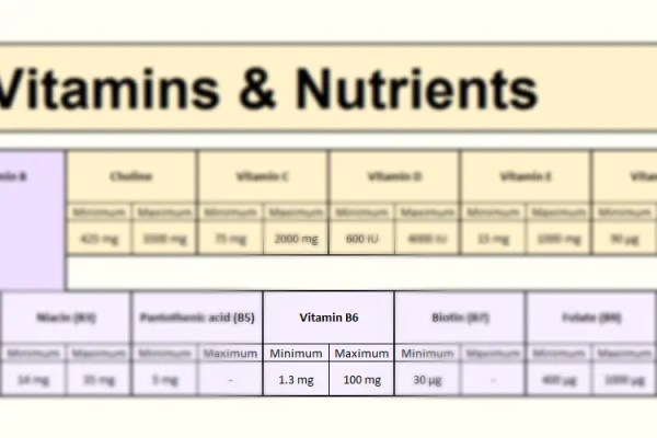 Vitamin B6 in Focus - Vitamins section of the FooDosage Nutrition Calculator results page