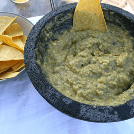 Knockout Guacamole with tortilla chips.
