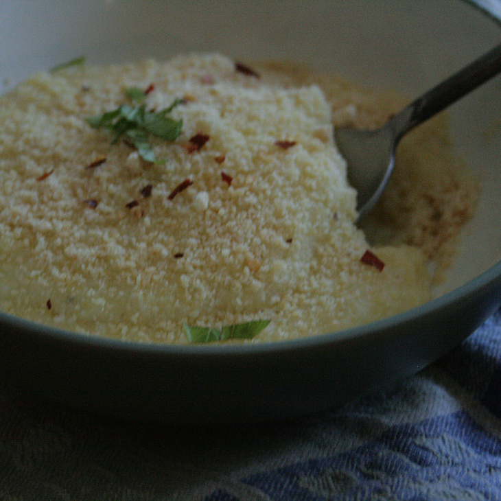 Yenta Polenta with basil and red pepper flakes.