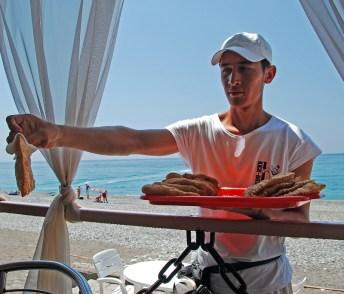 Gagra - Sea Shore Cafe - Buying Chebureks