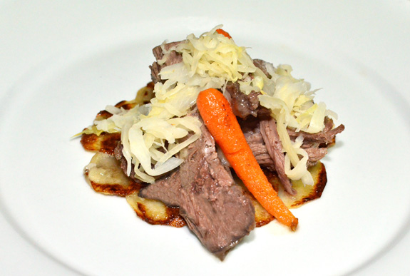 Latvian Hare Confit, Potato Pancakes and Sauerkraut