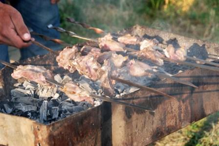 Azerbaijan - Xinaliq - Making Kebabs