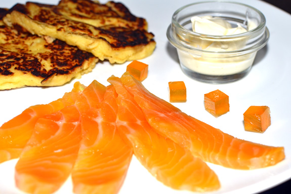 Eastern European Cuisine - Tokaji-Cured Lake Trout and Mozzarella-Potato Pancakes