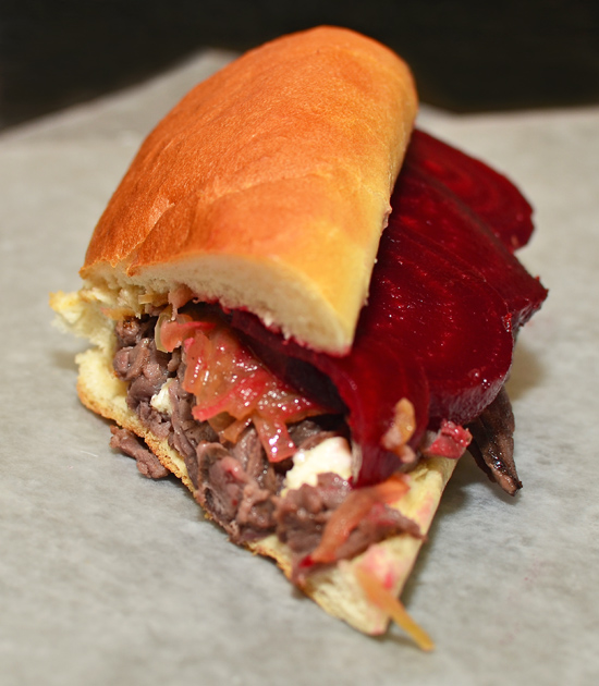 Eastern European Venison Cheese Steak Sandwich