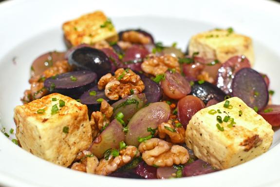 Georgian Food - Imeretian Cheese, Grape and Walnut Salad