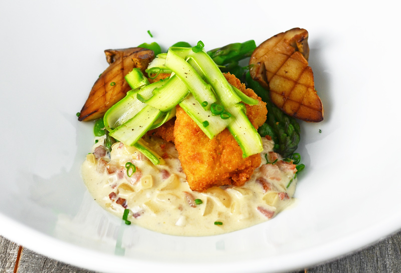 Moravian Pike Goujonnettes, Bacon Sauce and Spring Vegetables