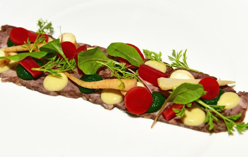Manoir Hovey - Le Hatley Restaurant - Venison Terrine, Wild Carrot Ravigote, Marinated Parsley Root, Sea Parsley