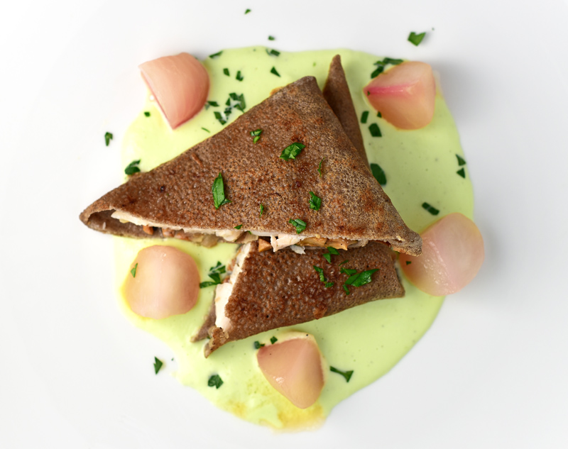 Buckwheat Blini with Trout, Cabbage Sauce and Honey-Glazed Turnips