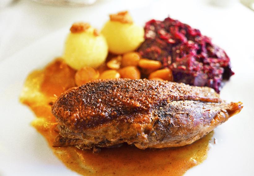 Rothenburg ob der Tauber - Restaurant Eisenhut - Braised Goose Breast, Glazed Chestnuts, Potato Dumplings, Red Cabbage