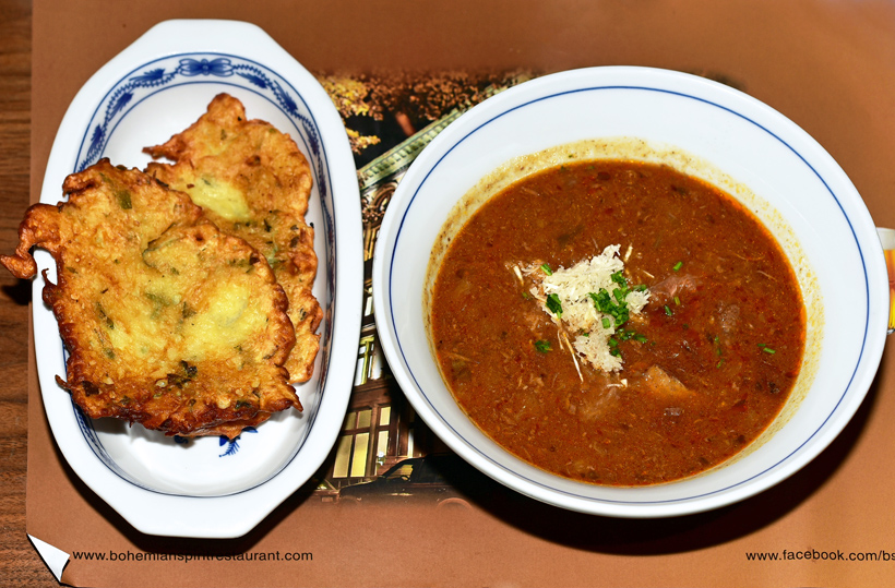 Czech Cuisine - Bohemian Spirit - Beef Goulash with Horseradish and Potato Pancakes