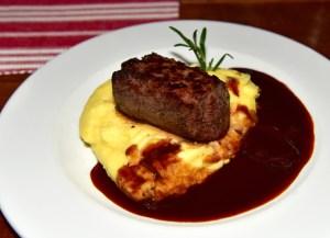 Bratislava - Modrá Hviezda Restaurant - Venison Medallion with Sour Plum Sauce and Mashed Potatoes