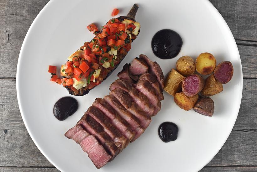 Serbian Food - Grilled Pork Neck Steak, Bayildi and Morava Salad