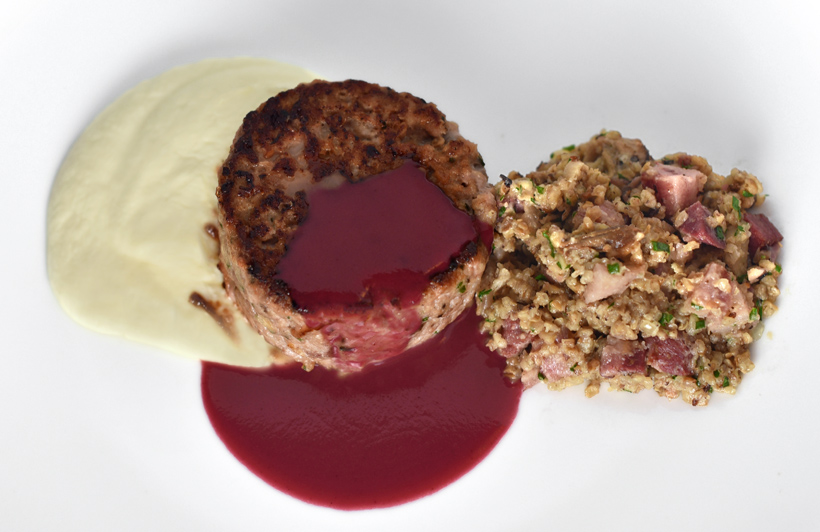 Siberian Cuisine - Wild Boar Cutlets, Celery Root Purée, Kasha and Lingonberry Sauce
