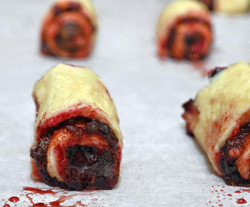 Blackcurrant Preserves-Red Beet-Cinnamon Sugar Rugelach