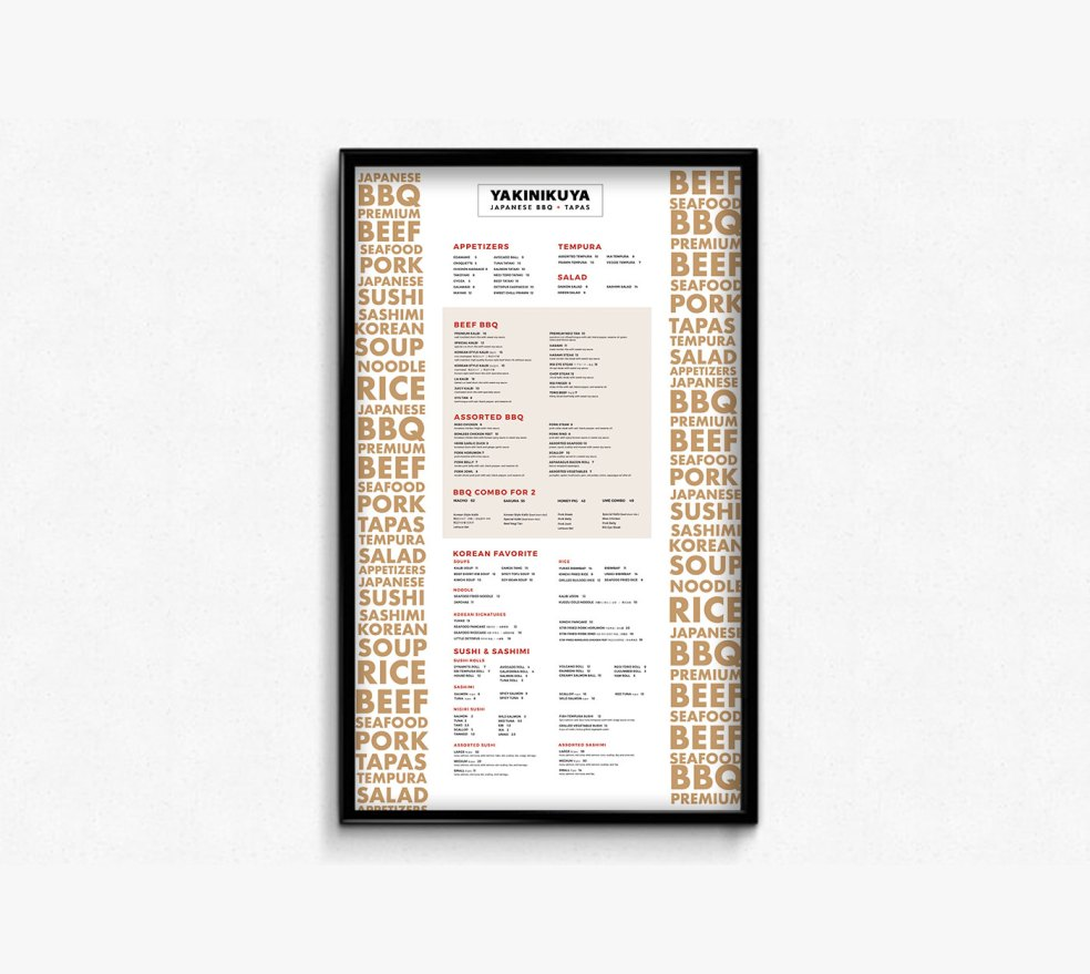 vancouver restaurant menu designs