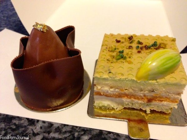Tonka bean cherry chocolate; and the pistachio cake