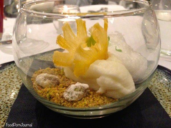Pineapple and pistachio dessert