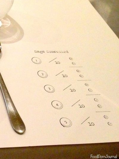 Sage Taste and Test scorecard