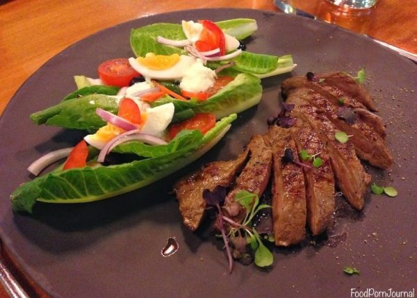 Mediterranean style smoked lamb loin salad ($27)