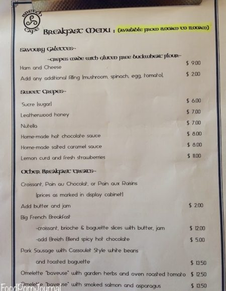 Breizh Cafe Ainslie breakfast menu