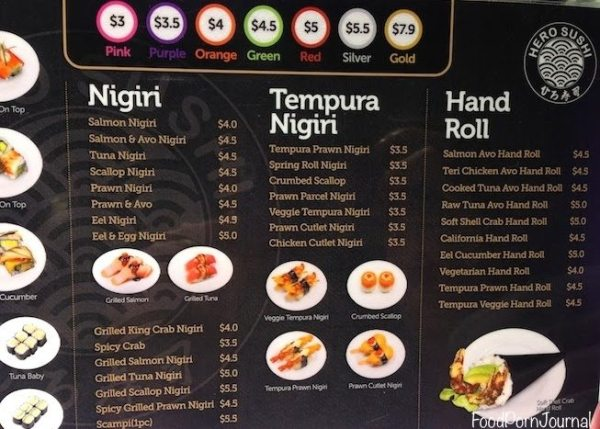 Hero Sushi Train Canberra menu 2