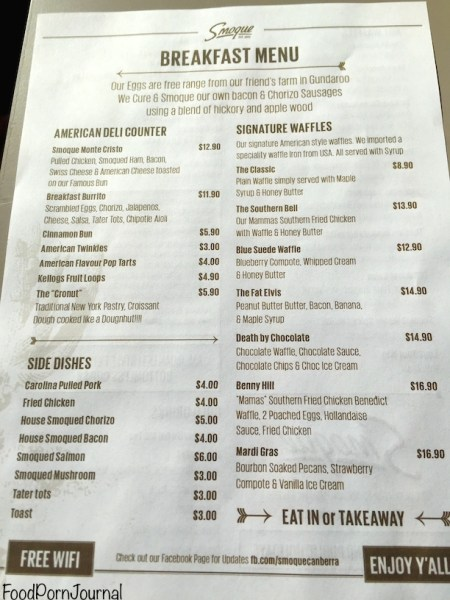 Smoque Woden breakfast menu