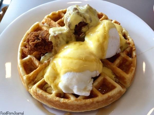 Smoque Woden fried chicken benedict waffle