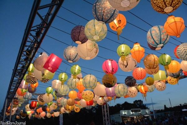 Enlighten Night Noodle Markets lanterns lit up