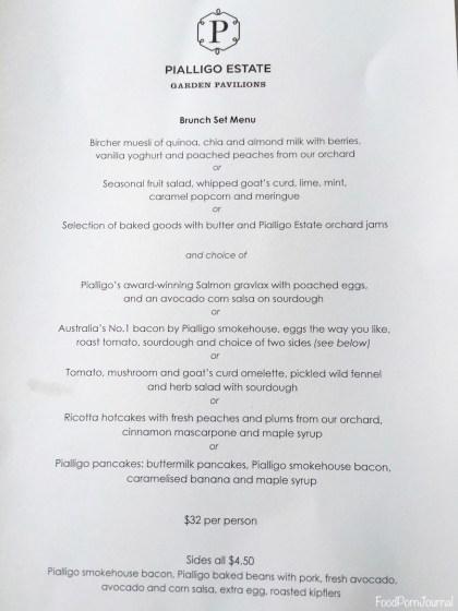 Pialligo Estate Pavilion Breakfast menu