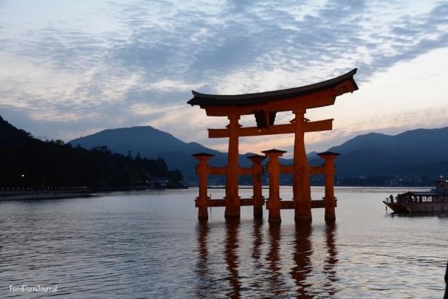 Japan Miyajima Island floating torii sunset