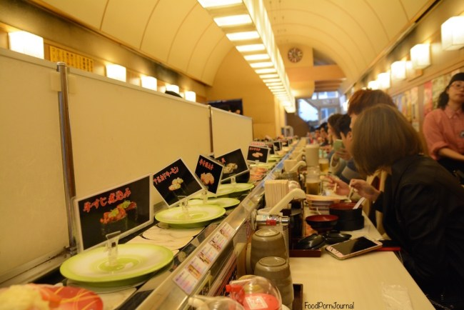 Osaka Japan Dotonburi sushi train inside