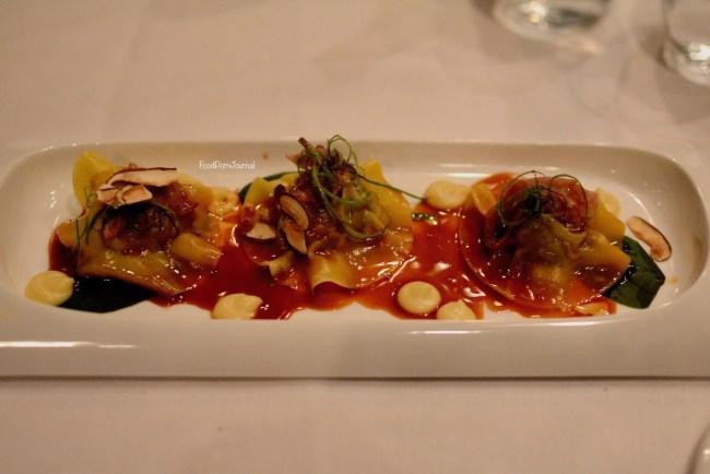 Courgette duck ravioli